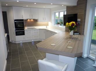 Stunning White High Gloss and Driftwood Kitchen